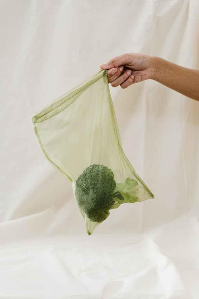 Saco com vegetais segurando por uma mão para jogar no lixo